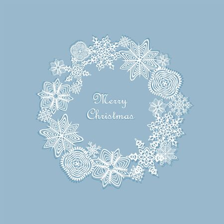 dcor: Christmas wreath with paper cut out snowflakes