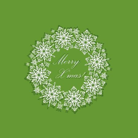 cor: Greeting green xmas card with paper cut out decorative snowflakes wreath.Template for Christmas cards