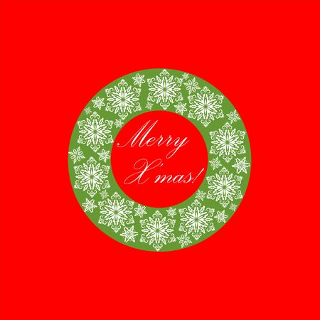cor: Greeting red and green card with cut out paper decorative snowflakes xmas wreath.Template for Christmas cards and invitations Illustration