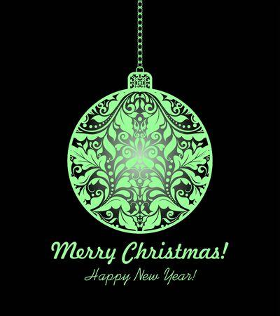 dcor: Magic christmas card with hanging floral ball