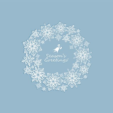 adorning: Pastel greeting winter card with paper cut out snowflakes xmas wreath