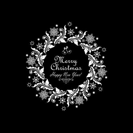 xmas star: Vintage greeting card with xmas paper cut out wreath with floral pattern, snowflakes and star Illustration