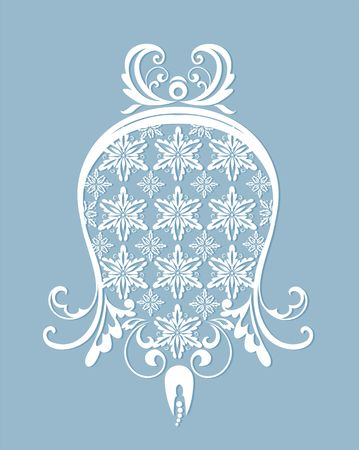 Vintage paper laser cut out bell for xmas and wedding design