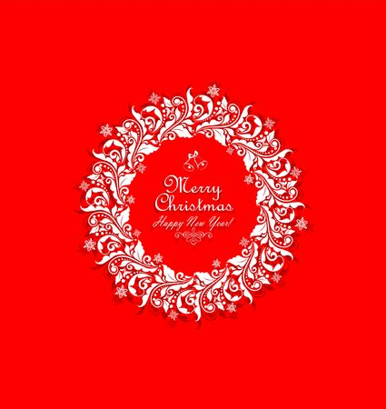 cor: Vintage xmas paper cut out wreath with floral pattern and snowflakes