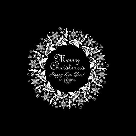 dcor: Vintage xmas paper white wreath with floral pattern and star isolated on black background