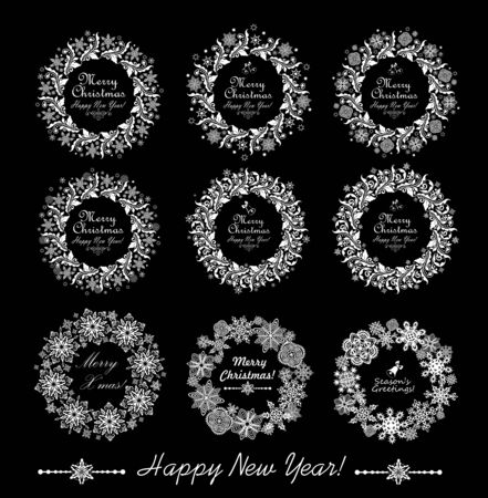 Collection of decorative paper wreath isolated on black Illustration