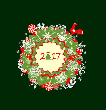 New year greeting with paper applique
