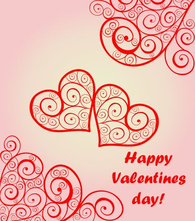Beautiful card for Valentines day with lacy hearts 向量圖像