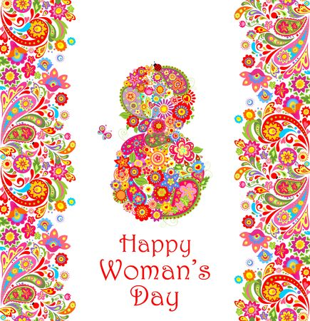 Greeting decorative card with flowers print and number 8 for Womans Day Illustration