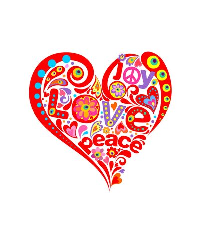 Hippie print with abstract heart shape