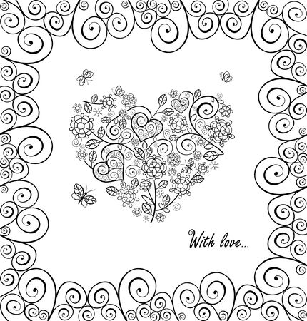 Saludo Vintage Blanco Y Negro Con Corazón Decorativo Ilustraciones