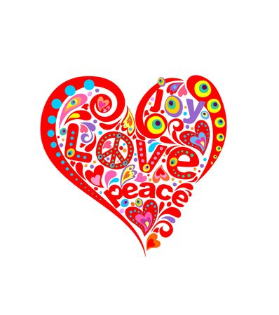 flowerpower: Print with abstract heart with hippie symbolic