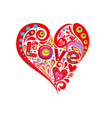 Print with abstract red heart shape and love word Illustration