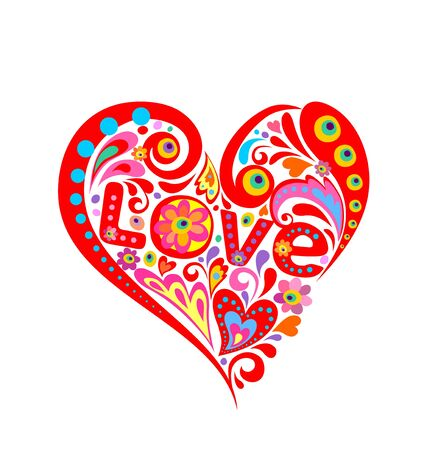 Print with abstract red heart shape with love word Illustration
