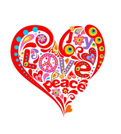 Red heart shape with hippie symbolic