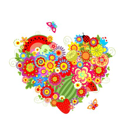 Summery floral heart shape with fruits Illustration