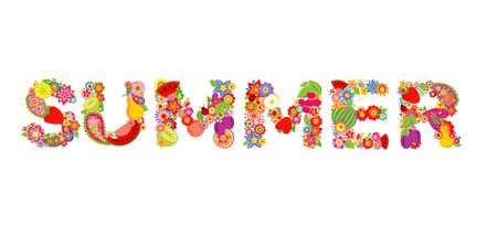 summer fruits: Colorful floral print with summer word