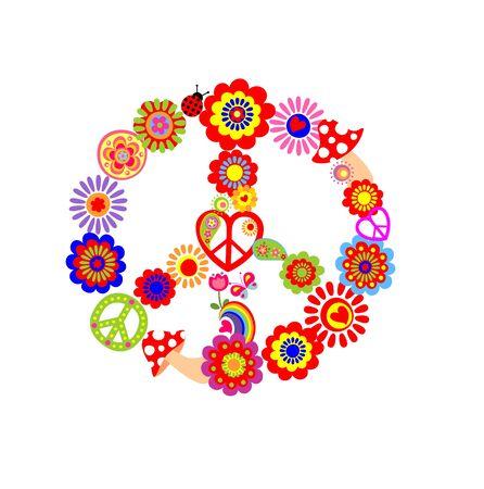 flowerpower: Childish print with peace flower symbol Illustration