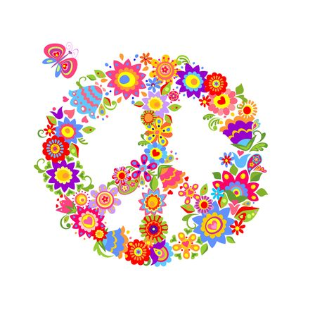 flowerpower: Colorful print with peace flower symbol