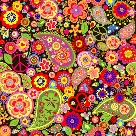Colorful wallpaper with funny spring flowers, paisley and peace symbol Illustration
