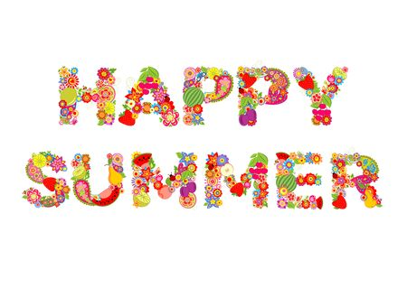 summer fruits: Happy summer. Flowers and fruits print
