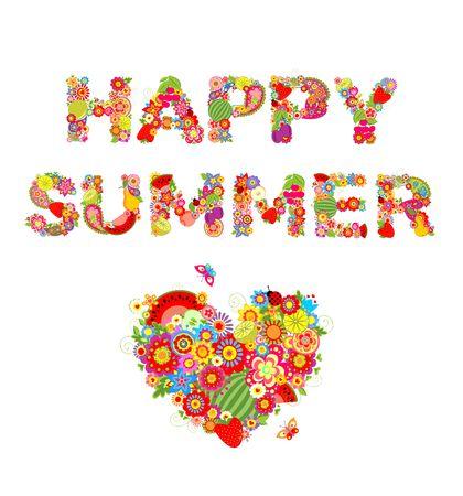 幸せな夏。花、果物、ハートの形で印刷します。