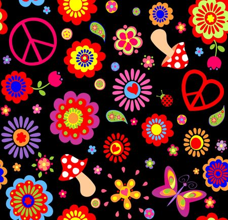 Hippie childish funny wallpaper with abstract flowers, mushrooms and peace symbol
