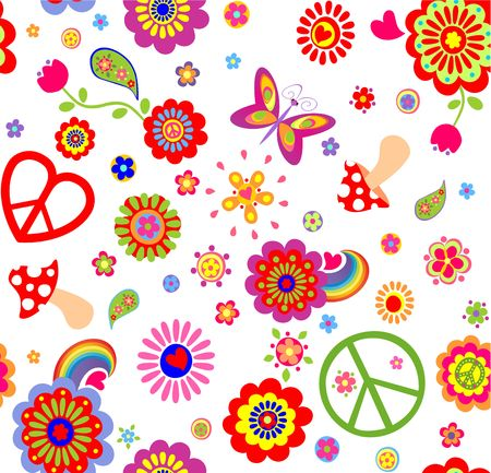flowerpower: Hippie childish funny wallpaper with abstract flowers, mushrooms, rainbow and peace symbol