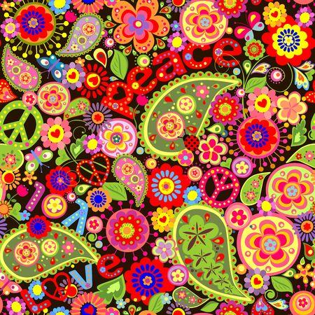 flowerpower: Hippie colorful floral wallpaper