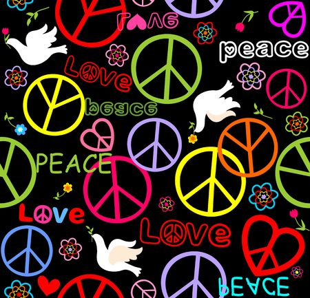 Hippie paper wrapper with peace symbols and doves Illustration