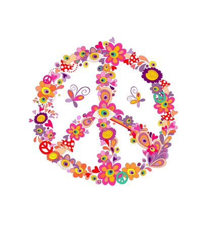 Peace flower symbol with abstract flowers, mushrooms and eyes