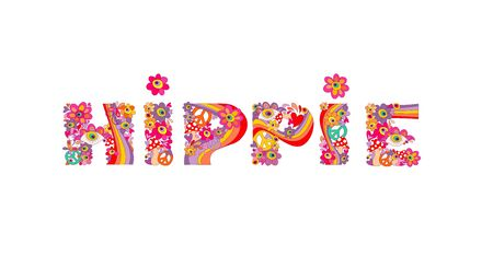 Psychedelic hippie lettering with colorful abstract flowers, peace symbol, eyes and fly agaric. Isolated on white background Illustration