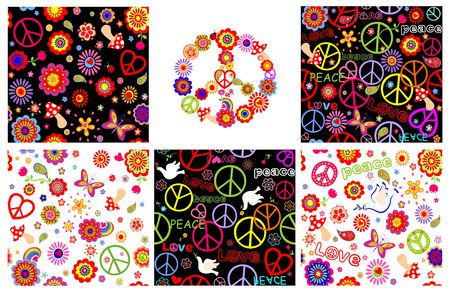 Set of hippie wrappers with peace symbols, heart shape, flowers and doves