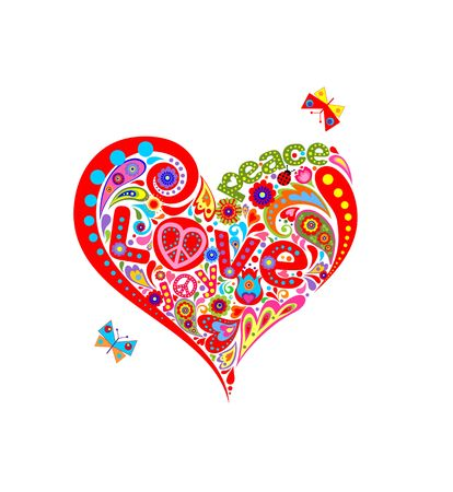 T-shirt print with funny hippie heart shape