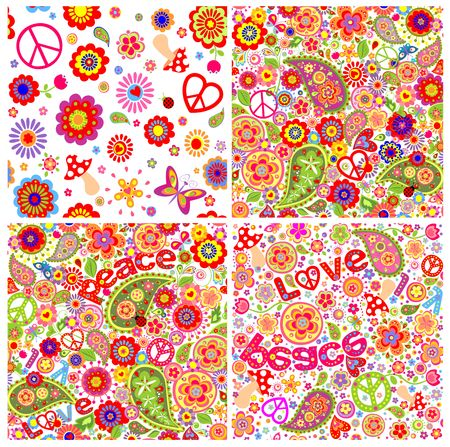 flowerpower: Collection of childish funny colorful hippie wallpapers Illustration