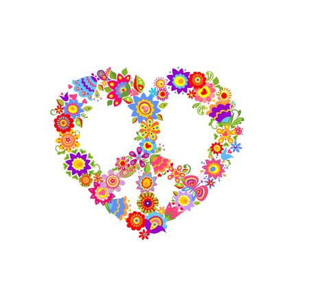 flowerpower: Floral print with peace symbol Illustration