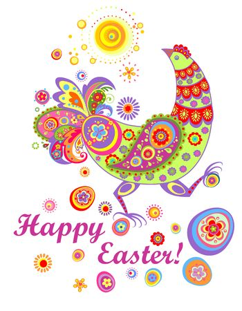 Funny easter card with decorative hen