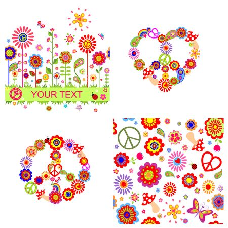 Hippie design with heart shape, peace symbol, abstract flowers and mushrooms