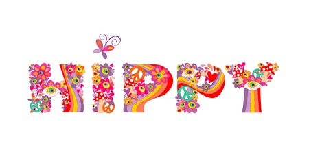 Psychedelic hippy lettering with colorful abstract flowers, peace symbol, eyes and fly agaric isolated on white background Illustration