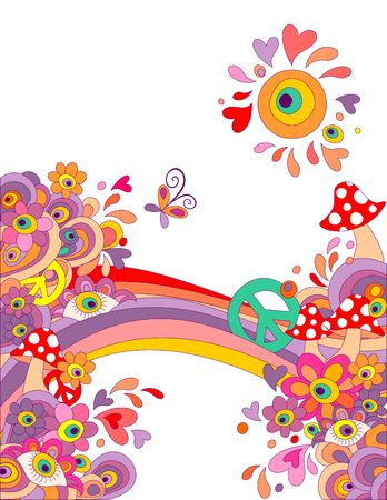 Summery hippie background with abstract colorful flowers, mushrooms, peace symbol and rainbow