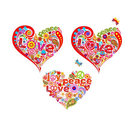 T-shirt prints with funny decorative hippie heart shapes Illustration
