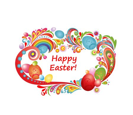 Easter greeting frame with colorful eggs