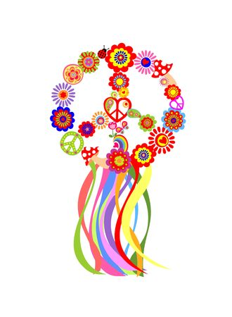 Floral hippie wreath with peace symbol and colorful ribbon Illustration