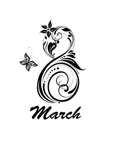 Greeting card for 8 March with decorative number 8. Black and white