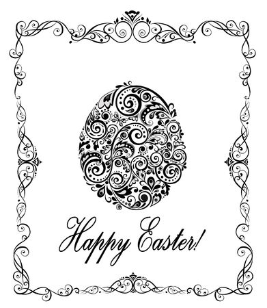 pasch: Greeting easter card with decorative floral egg (black and white)