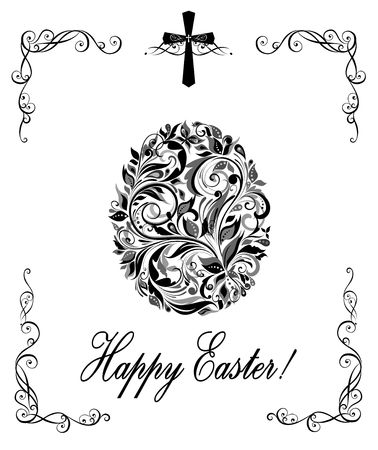 pasch: Greeting easter card with floral vintage egg shape (black and white)