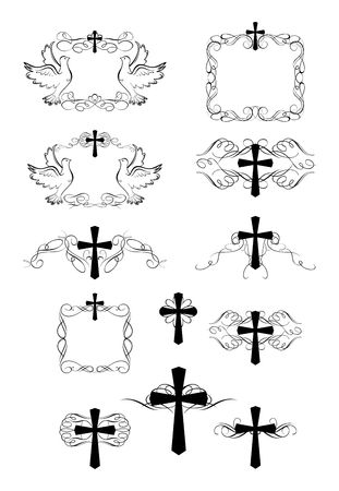 Set of vintage frames and crosses for easter design Illustration