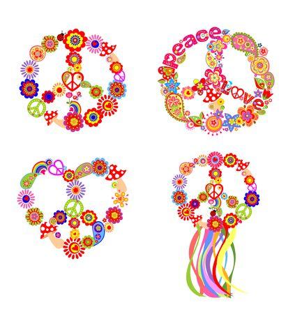 flowerpower: Childish t-shirt prints with peace flower symbol Illustration