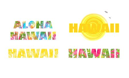 Collection t-shirt prints with hawaii lettering