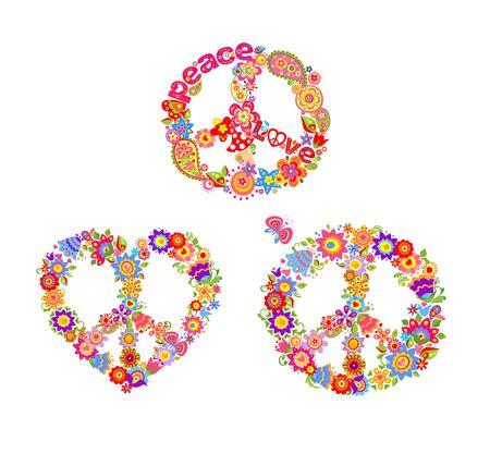 Decorative hippie prints with peace flower symbols Illustration